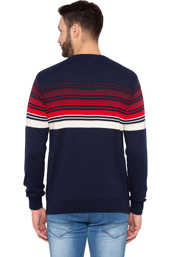 Striped Navy Blue Full Sleeved Sweater-3