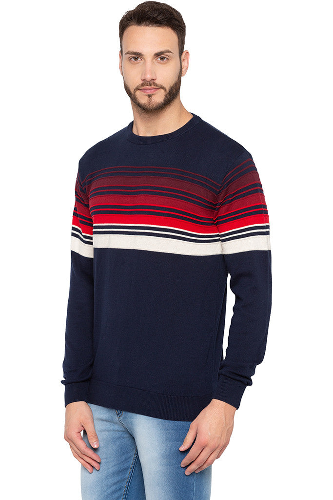 Striped Navy Blue Full Sleeved Sweater-4
