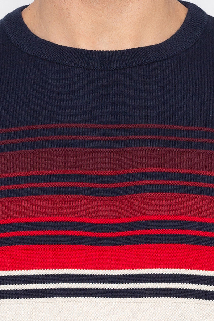 Striped Navy Blue Full Sleeved Sweater-5