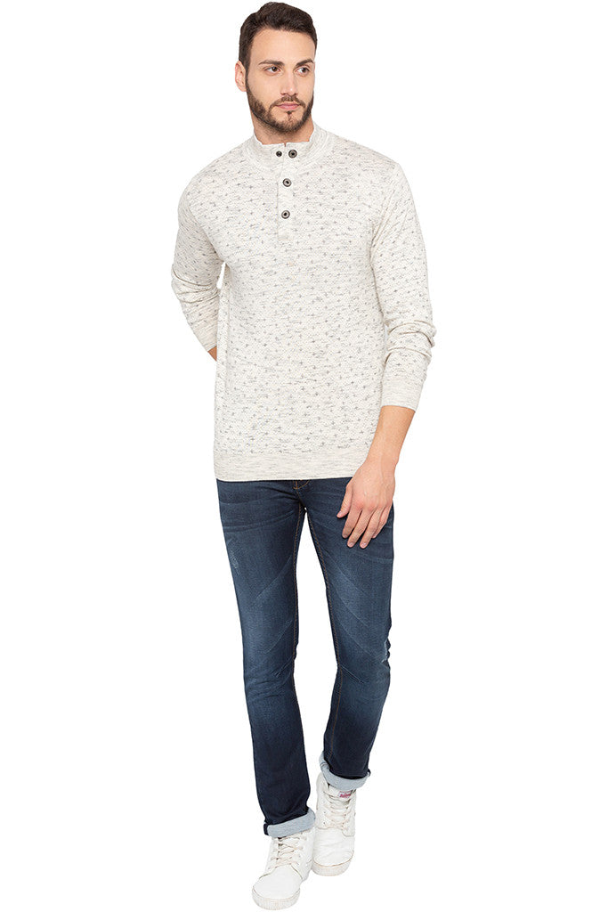 Henley Neckline Off White Sweater-2
