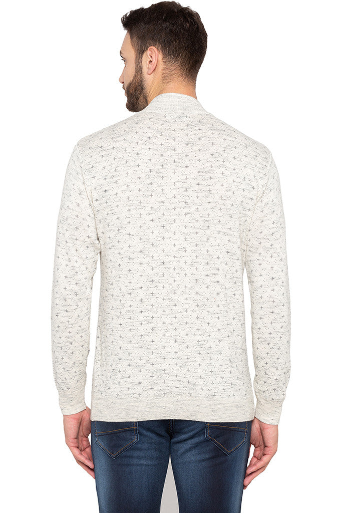 Henley Neckline Off White Sweater-3