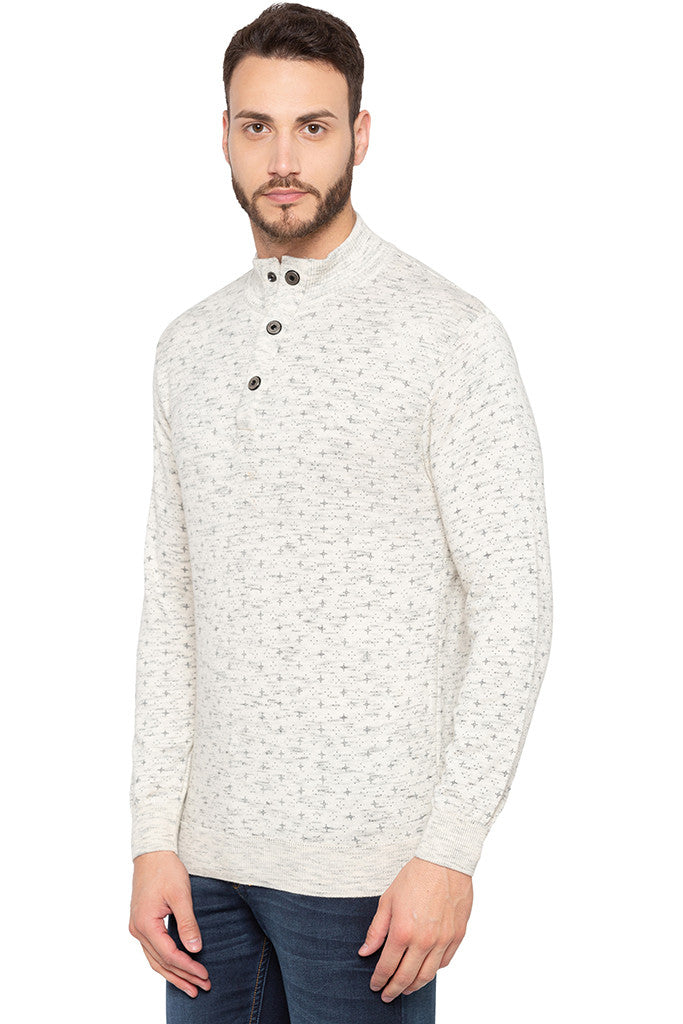 Henley Neckline Off White Sweater-4