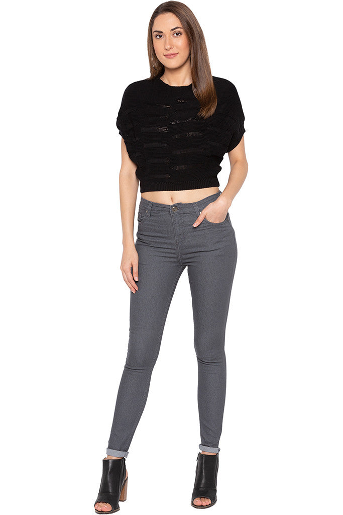 Black Cropped Pullover-2