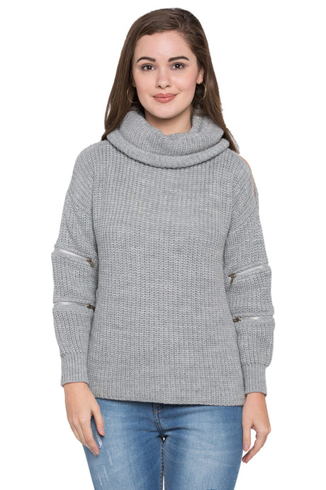 Turtle Neck Zipper Sleeve Sweatshirt-1