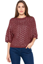 Load image into Gallery viewer, Wine Raglan Sleeve Pullover-1