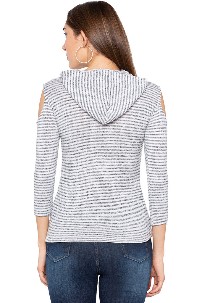 White Grey Striped Hooded Top-3