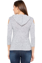 Load image into Gallery viewer, White Grey Striped Hooded Top-3