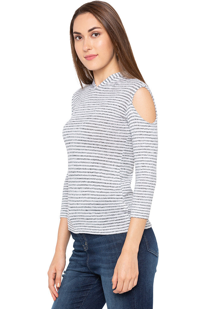 White Grey Striped Hooded Top-4