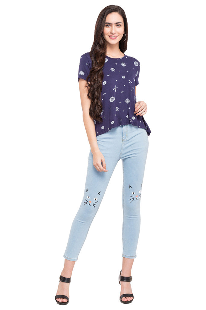 Ankle Length Knee Print Denims-2