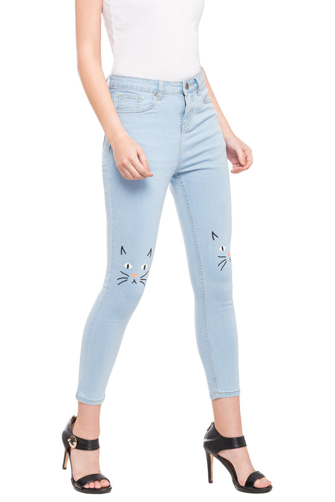 Ankle Length Knee Print Denims-4
