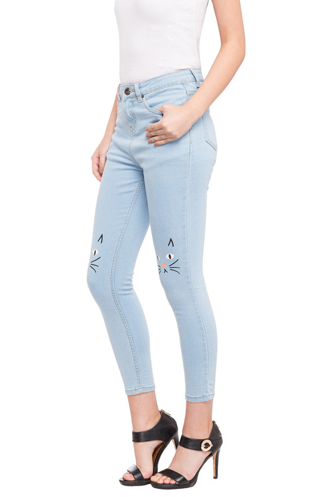Ankle Length Knee Print Denims-5