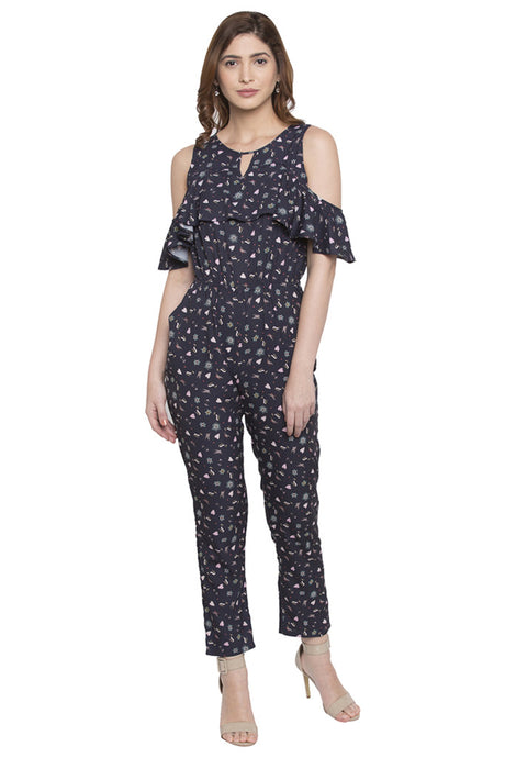 Ruffled Cold Shoulder Printed Jumpsuit-1