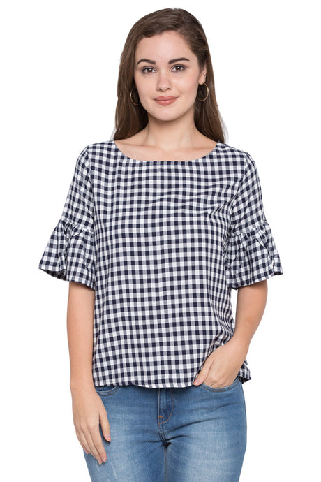 Back Tie-up Gingham Check Top-1