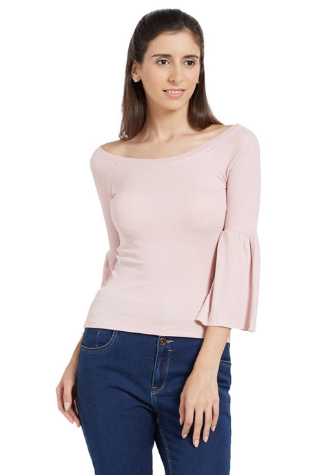 Off Shoulder Bell Sleeve Top-1