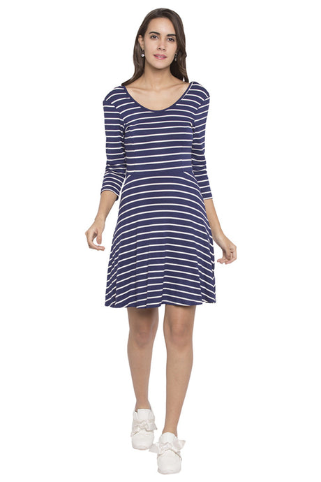 Striped Fit to Flare Dress-1
