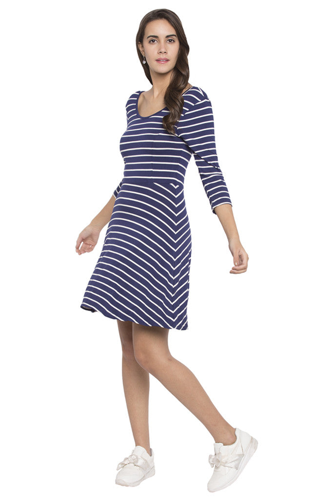Striped Fit to Flare Dress-2