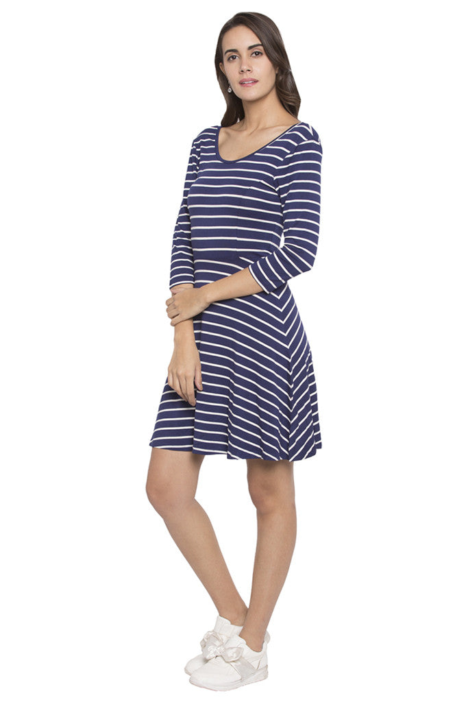 Striped Fit to Flare Dress-4