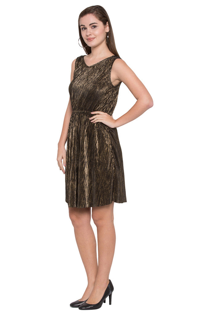 Plisse Pleat Fit-to-Flare Party Dress-4