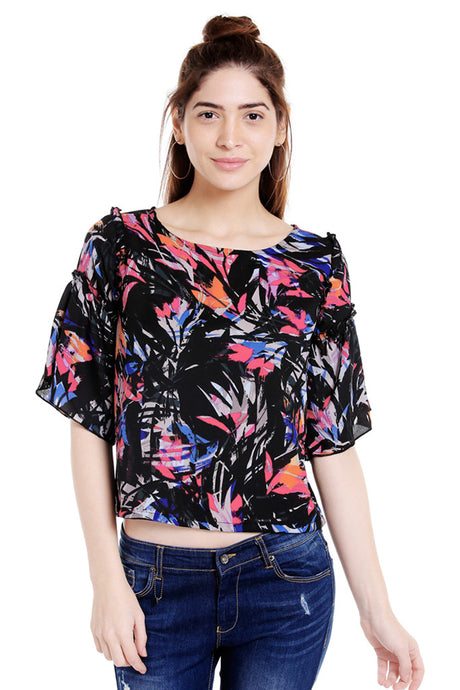 Multi-coloured Bell Sleeve Top-1