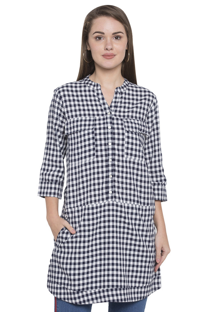 Navy-white Checked Tunic Top-1