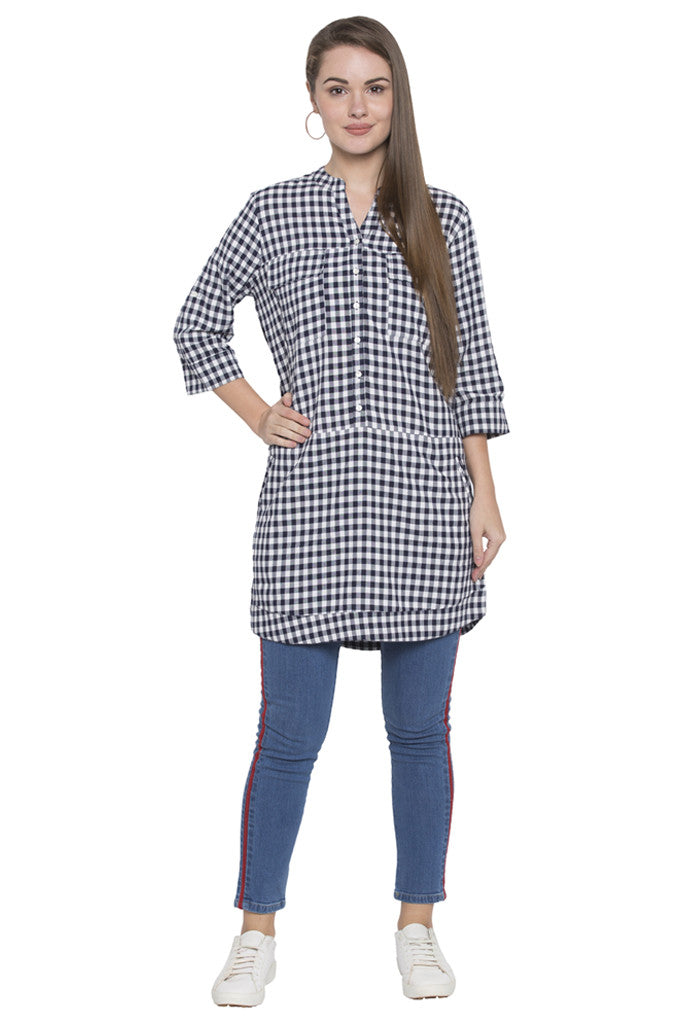 Navy-white Checked Tunic Top-2