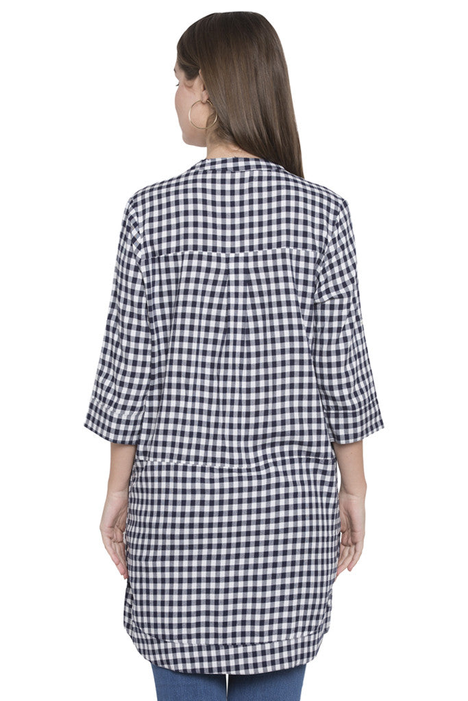 Navy-white Checked Tunic Top-3