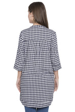 Load image into Gallery viewer, Navy-white Checked Tunic Top-3