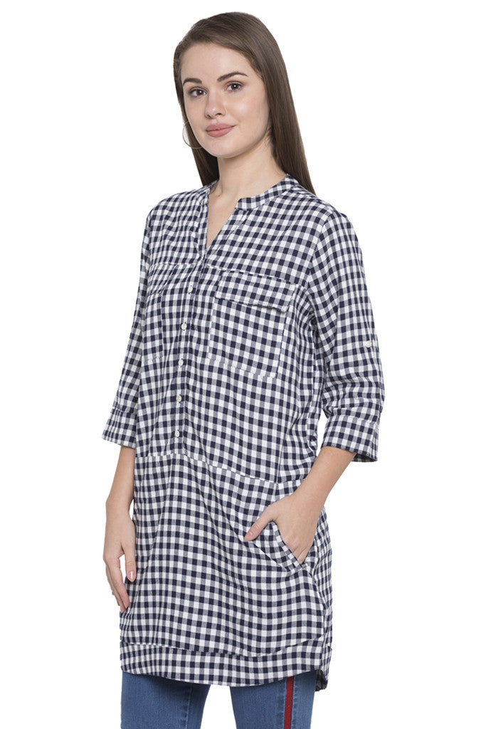 Navy-white Checked Tunic Top-4