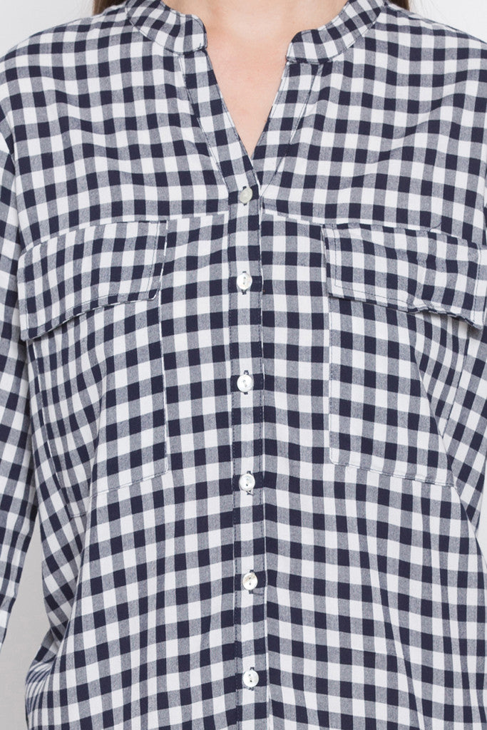 Navy-white Checked Tunic Top-5