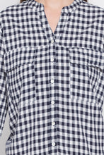 Load image into Gallery viewer, Navy-white Checked Tunic Top-5