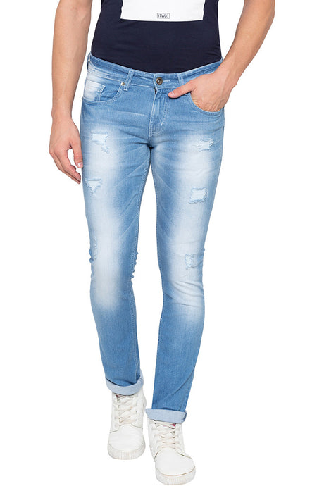 Slim Fit Distressed Iceblue Denims-1