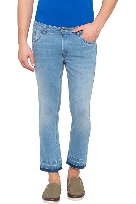 Blue Indigo Printed Ankle Length Denims-1