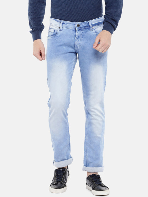 Blue Regular Fit Mid-Rise Clean Look Stretchable Jeans-1