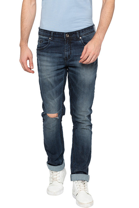 Slashed Knee Slim Fit Denims-1