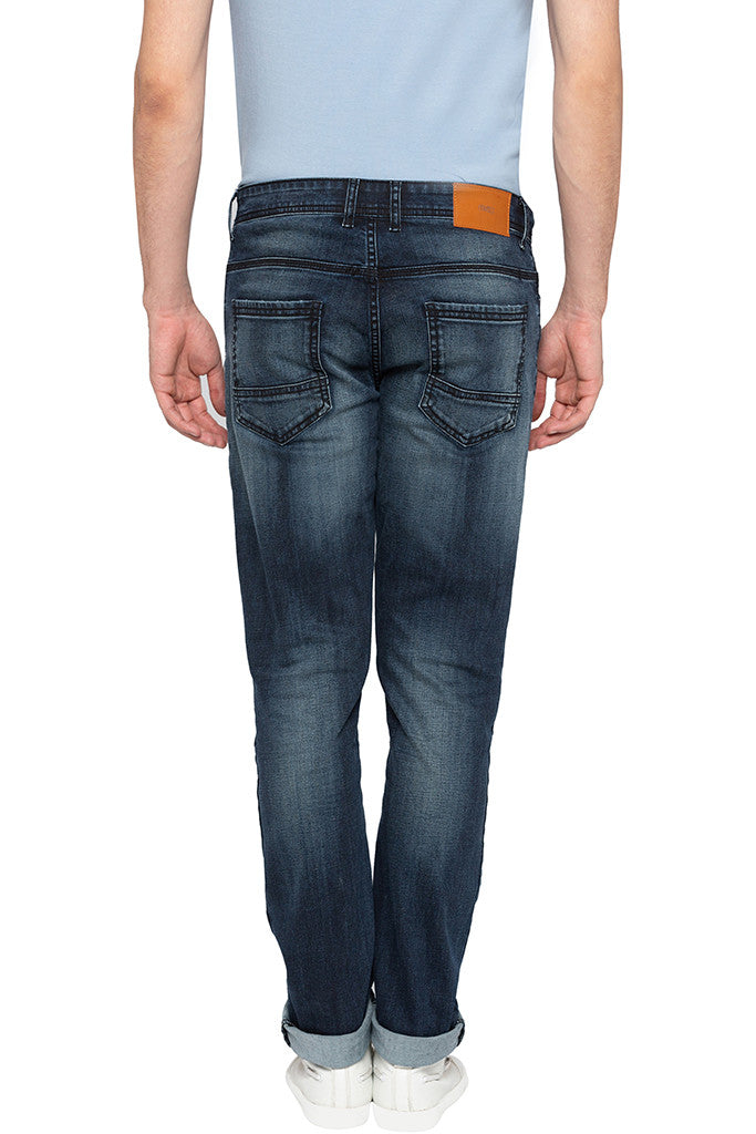 Slashed Knee Slim Fit Denims-3