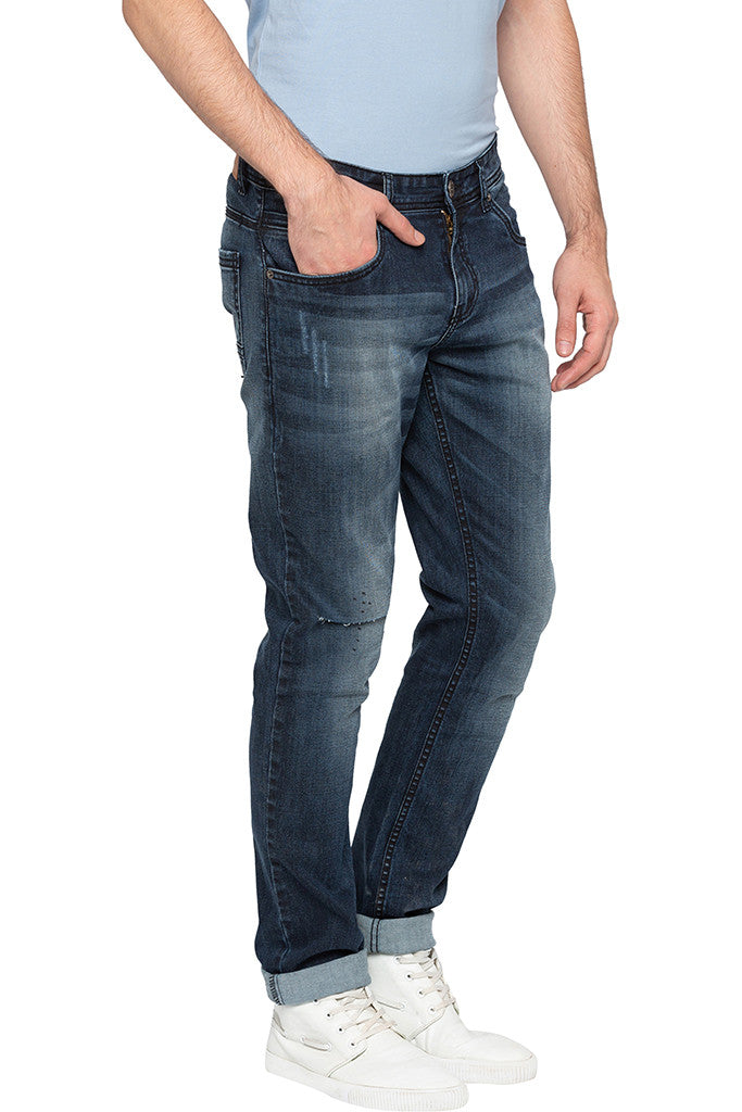 Slashed Knee Slim Fit Denims-4