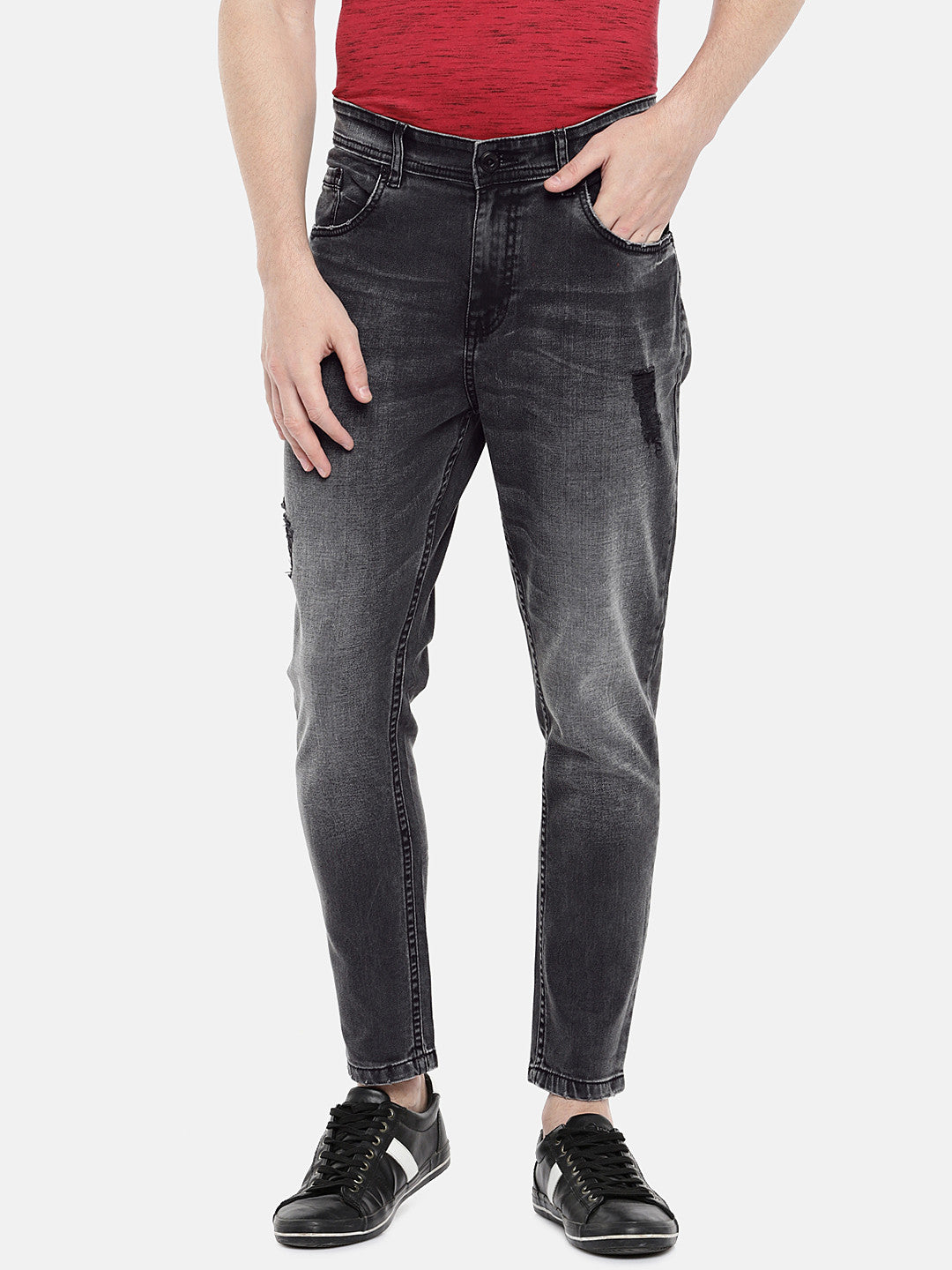 Charcoal Grey Regular Fit Mid-Rise Low Distress Jeans-1