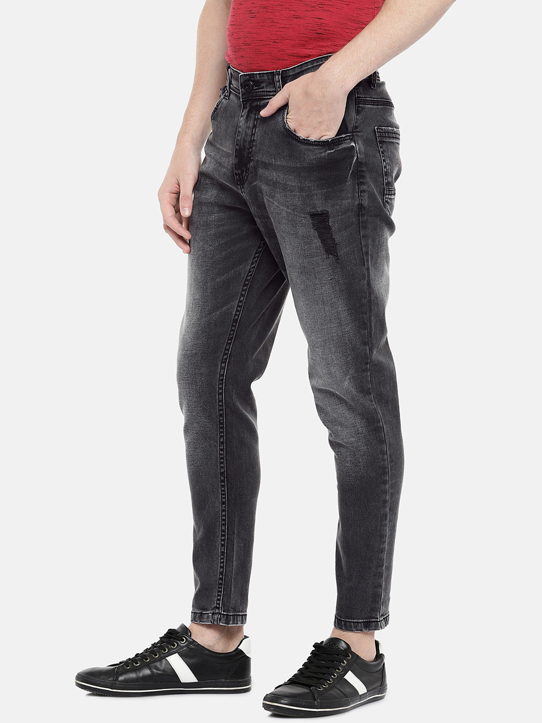 Charcoal Grey Regular Fit Mid-Rise Low Distress Jeans-2