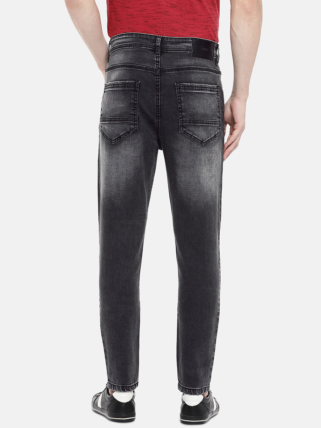 Charcoal Grey Regular Fit Mid-Rise Low Distress Jeans-3