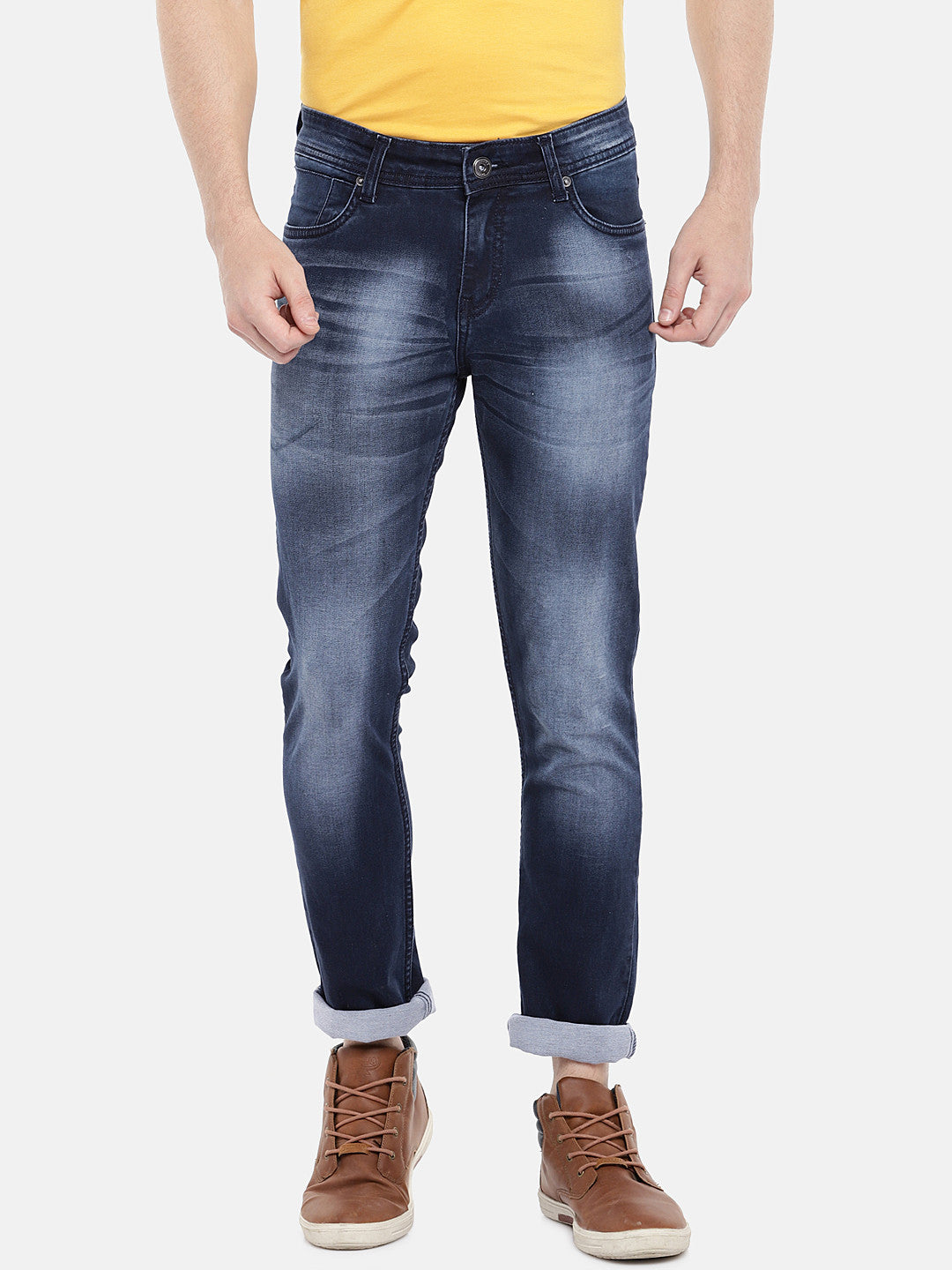 Navy Blue Regular Fit Mid-Rise Clean Look Jeans-1