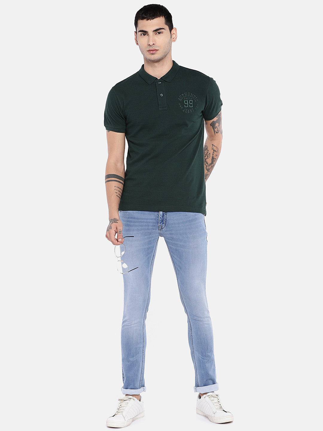 Blue Regular Fit Mid-Rise Clean Look Jeans-4
