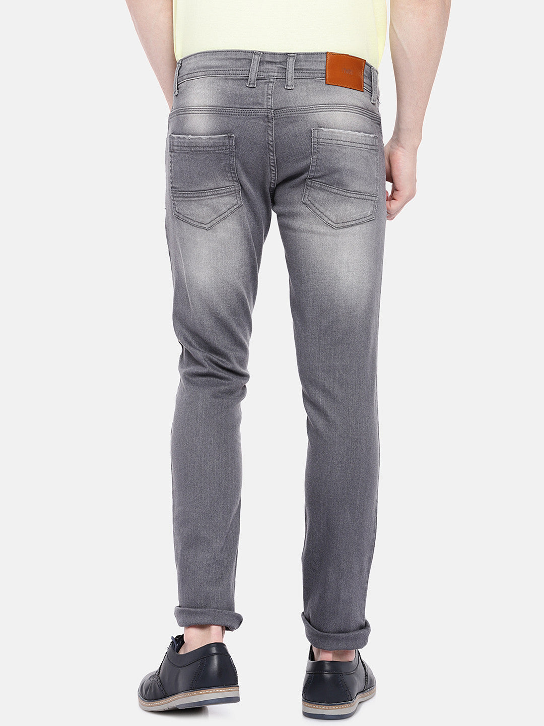 Grey Regular Fit Mid-Rise Clean Look Jeans-3