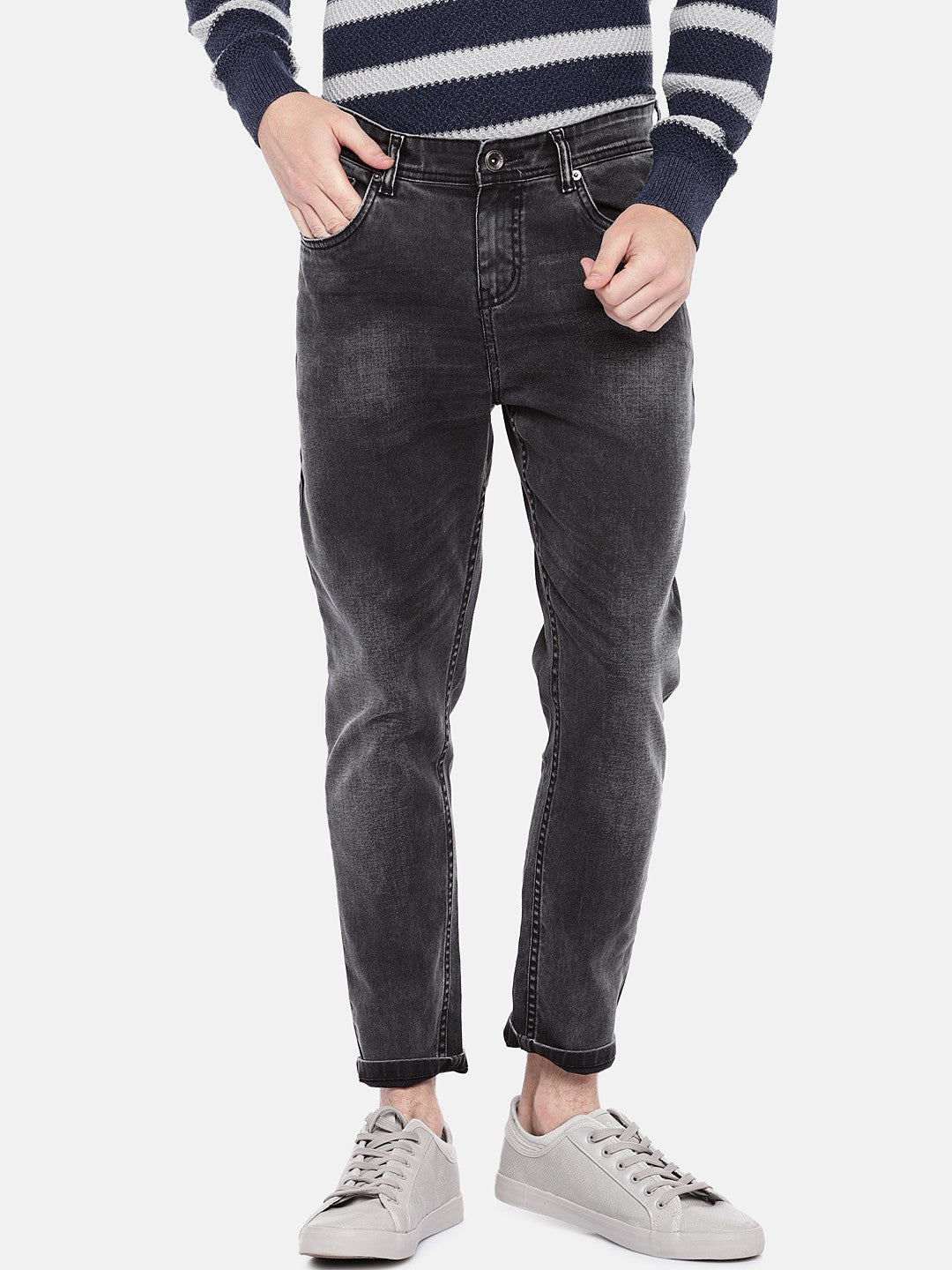 Grey Regular Fit Mid-Rise Clean Look Jeans-1
