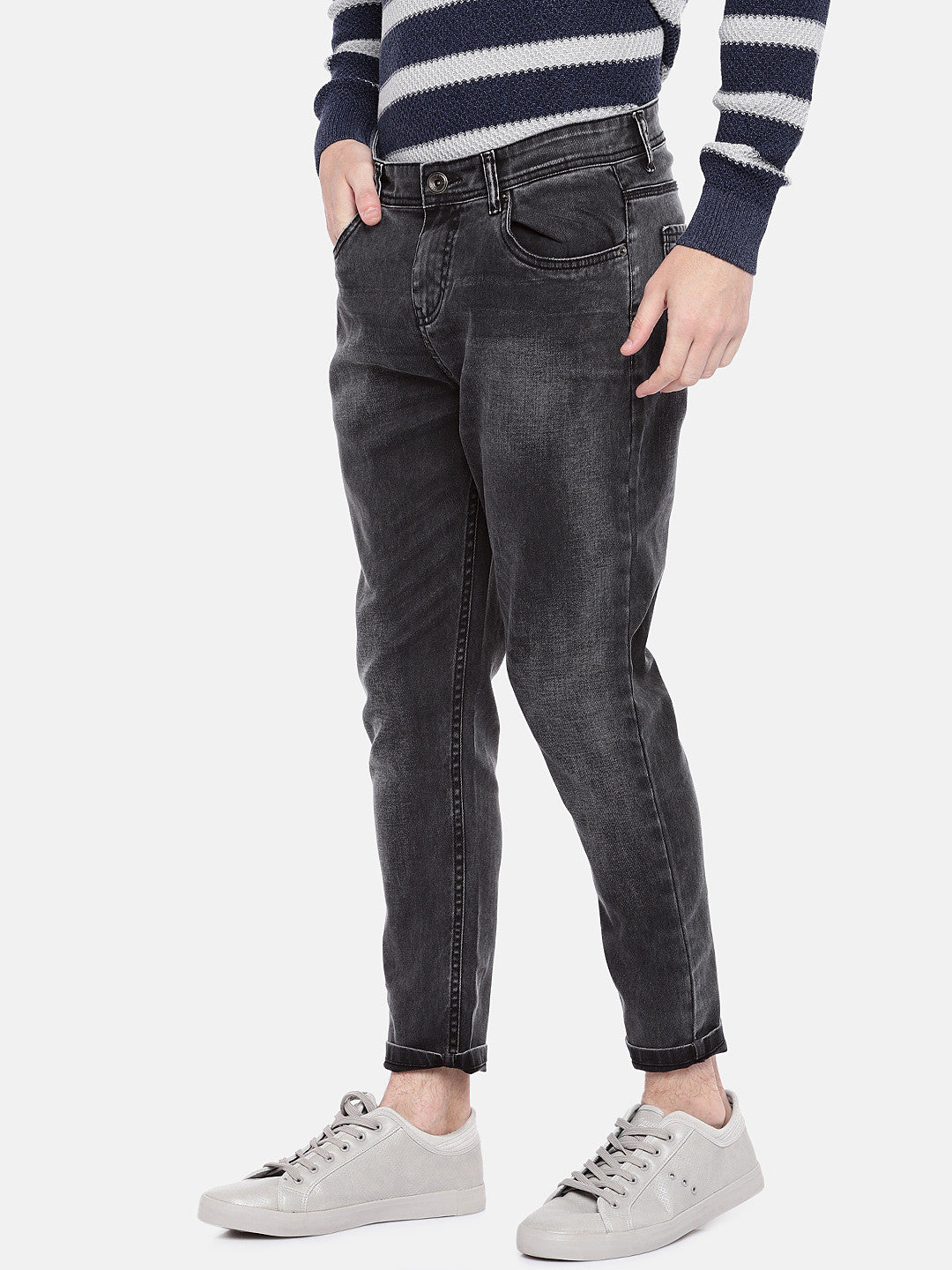 Grey Regular Fit Mid-Rise Clean Look Jeans-2