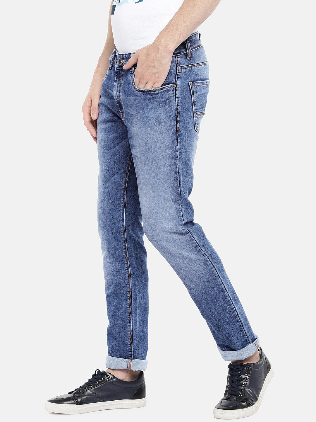 Navy Blue Regular Fit Mid-Rise Clean Look Jeans-2
