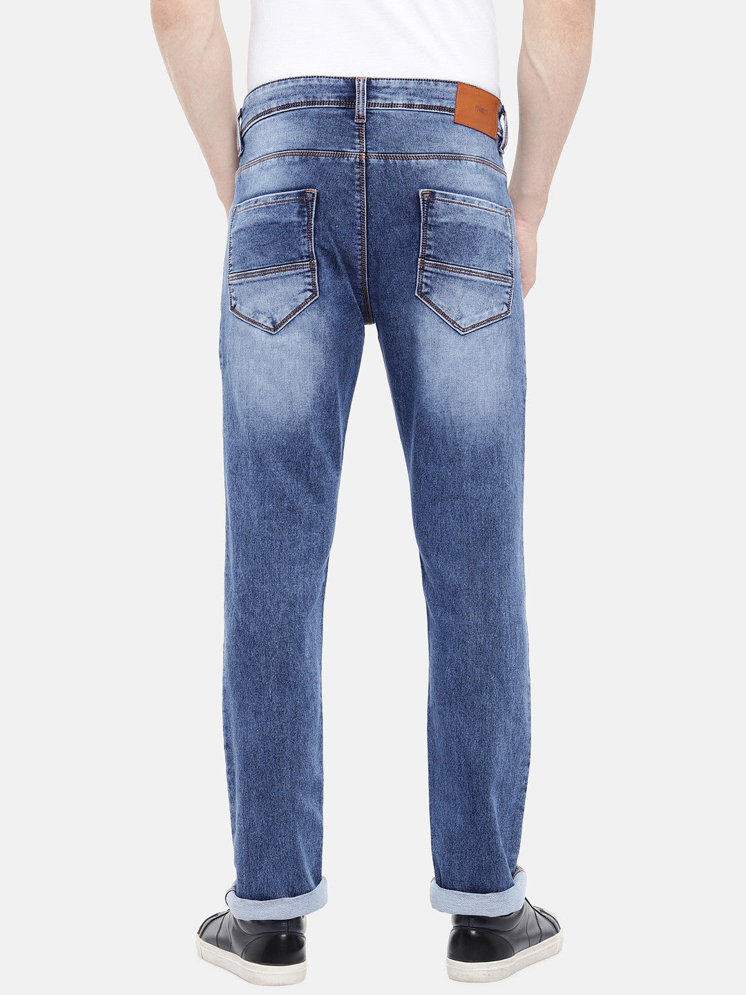 Navy Blue Regular Fit Mid-Rise Clean Look Jeans-3