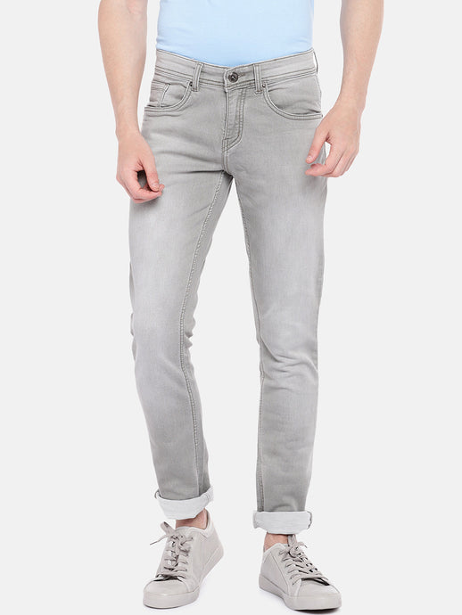 Grey Regular Fit Mid-Rise Clean Look Stretchable Jeans-1