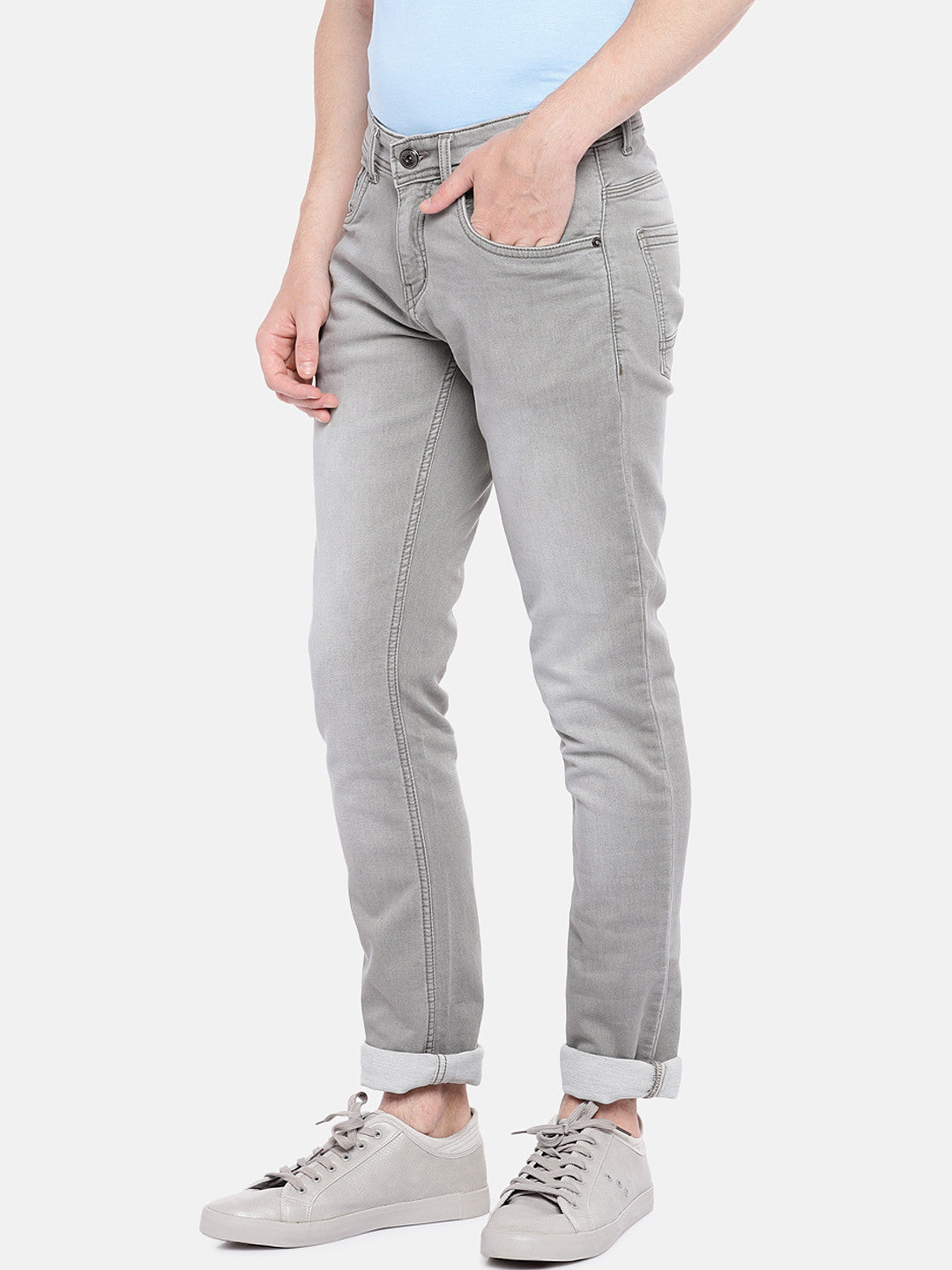 Grey Regular Fit Mid-Rise Clean Look Stretchable Jeans-2