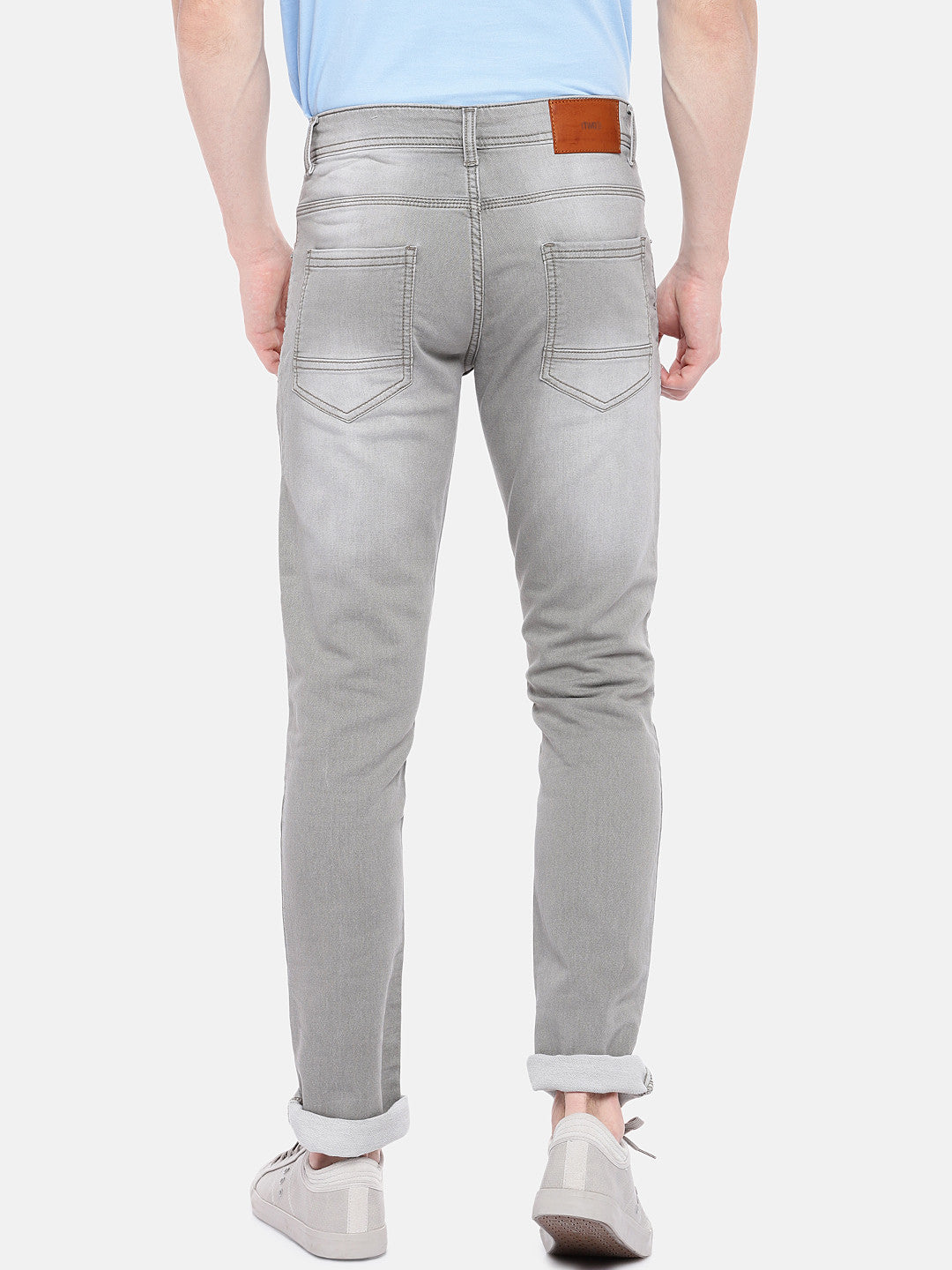 Grey Regular Fit Mid-Rise Clean Look Stretchable Jeans-3