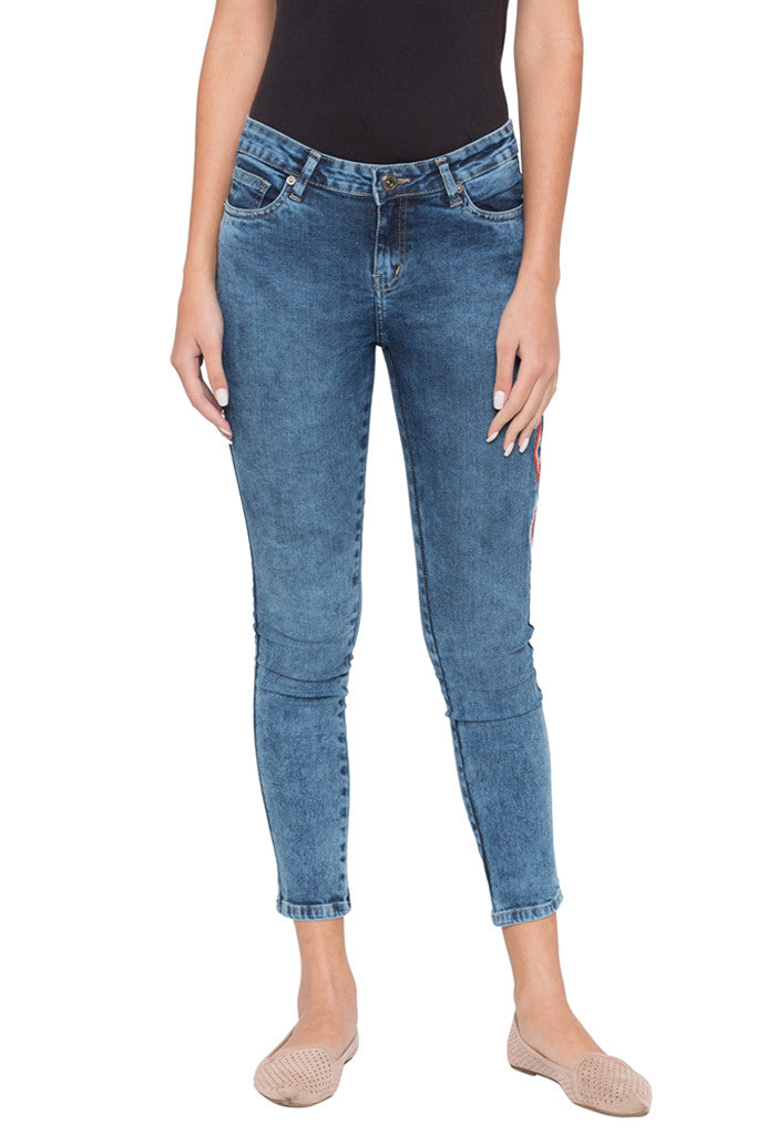Skinny Fit Embroidered Denims-1